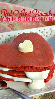 Red Velvet Pancakes with Cream Cheese Fluff ~ surprise your sweetie or little ones with a sweet treat for Valentine's Day breakfast!