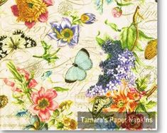Floral Paper Napkin with Butterflies for Decoupage Shabby Chic Napkins, Christmas Paper Napkins, Bamboo Leaves, Paper Napkins For Decoupage, Bird Boxes, Floral, Retro Vintage, Vintage World Maps, Etsy Seller