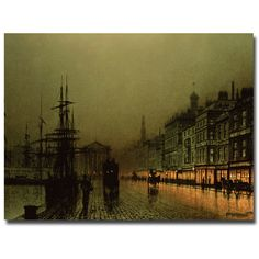 Greenock Dock by Moonlight by John Atkinson Grimshaw Painting Print on Wrapped Canvas