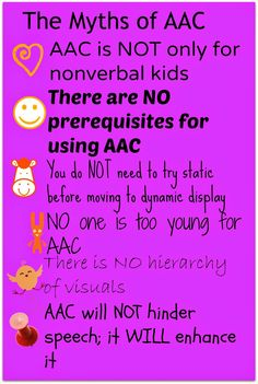 Kidz Learn Language: The Myths of AAC. A resource for parents about the untruths for AAC devices. Pinned by Laurel Bailey Sawyer Speech Language Pathology, Speech And Language, Autism Learning, Speech Therapy Activities, Time Activities, Language Development, Teacher Blogs, New School Year, Assistive Technology