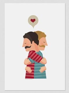Illustration. Hug II. Print 8x11.5. Wall art by Tutticonfetti,