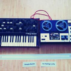 Forget about the Doodle, this is the real thing! Moog Prodigy, Google Search Page, Moog Synthesizer, Vintage Synth, Analog Synth, Vinyl Junkies, Google Doodles, Oui, Music