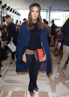 Jessica Alba earns her fashion stripes in turtleneck sweater with navy coat at Tory Burch NYFW show   Daily Mail Online