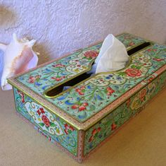 Daher Tin Tissue Holder Vintage with Pink by Somethingcharming, $38.00