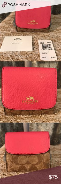"♨New Listing♨ Coach Signature Wallet NWT Adorable Coach Signature Small wallet NWT that is perfect for Spring/Summer. I bought this last May & never used. I have 10 Coach/Brighton Bags & wallets never got around to use this one. Wallet has been stored in a plastic tub. Wallet is coated canvas with hot pink leather. Wallet is 4"" h & 4 "" w. Don't pass cute new wallet up. Please use the offer button only not comments. Low ball offers will be ignored. Thanks for looking. Matching purse available…"