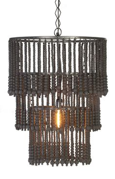 Wooden beaded chandelier black - All For Decoration Wooden Chandelier, Black Chandelier, Beaded Chandelier, Contemporary Chandelier, Garage Remodel, I Love Lamp, Wooden Beads, Home Projects, Ceiling Lights