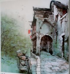 liu maoshan Japan Painting, Ink Painting, House Painting, Chinese Landscape, Urban Landscape, Chinese Contemporary Art, Great Paintings, China Art, Watercolor Artists