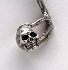 Carried Away bird claw skull necklace in Sterling by billyblue22, $80.00