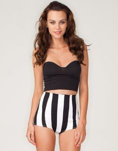 Printed knicker short style Motel hot pants in  black and white vertical stripe design. $40