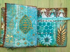 mixed media fabric book Yours Artfully made in Beryl Taylor class - turquoise…
