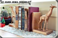 diy gilded animal bookends - dollar store animals