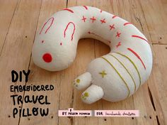 DIY Tutorial Embroidered Travel Pillow! by Misako Mimoko