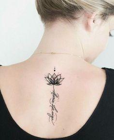 ▷ 1001 + Ideas and inspirations for a lotus flower tattoo- ▷ 1001 + Ideen und Inspirationen für ein Lotusblume Tattoo lotus flower tattoo on the back, small lotus in combination with lettering, blackwork tattoo - Mini Tattoos, Trendy Tattoos, Body Art Tattoos, Tattoos For Women, Tatoos, Name Tattoos, Unalome Tattoo, Small Flower Tattoos, Small Tattoos