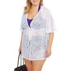 365809c53c3e4 Catalina - Women s Plus-Size Tie-Front Crochet Tunic Swim Cover-Up -  Walmart.com