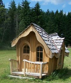 Shed Plans - clint likes the wonky playhouses and i like the fairytale looking ones. this might be a good compromise - Now You Can Build ANY Shed In A Weekend Even If You've Zero Woodworking Experience! Cubby Houses, Fairy Houses, Play Houses, Tree Houses, Crooked House, Fairytale House, Wendy House, Build A Playhouse, Shed Homes