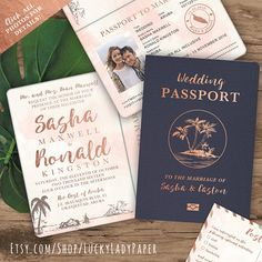 Destination Wedding Passport Invitation Set in Rose Gold