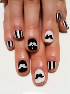 Black and white striped mustache nails