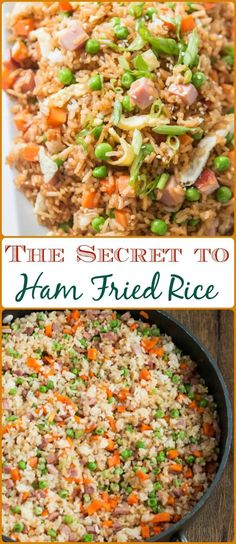 You don't have to even leave your kitchen to have restaurant worthy Chinese food. This is the secret to ham fried rice faux takeout style. pork fried rice recipe chinese food The Secret to Ham Fried Rice [+ Video] - Oh Sweet Basil Rice Recipes, Pork Recipes, Asian Recipes, Chicken Recipes, Cooking Recipes, Ethnic Recipes, Family Recipes, Rice Dishes, Gourmet