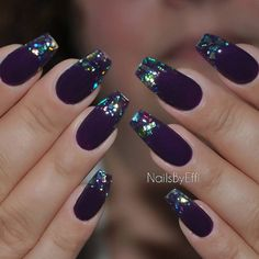 "Έφη Θεοδώρα on Instagram: ""Purple with multicolor flakes #gel"""