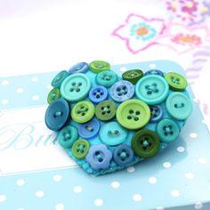 Heart brooch - Felt and buttons - 'Mermaid' - blue, green, aqua - FREE UK P&P £7.95