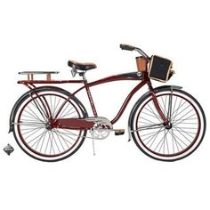 "26"" Mens Cruiser Bike Beach Road Bicycle Vintage Single Speed Coaster Basket Red #HuffyBicycles"