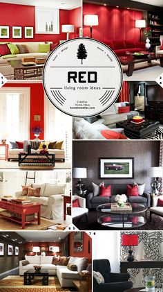 Red living room design ideas @Stephanie Close Cisneros what do you think about red in the living room?