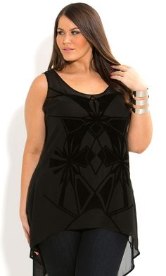 City Chic - FLOCKED GEO TOP - Women's plus size fashion