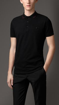 Black/mahogany red Contrast Tipping Detail Polo Shirt - Image 1