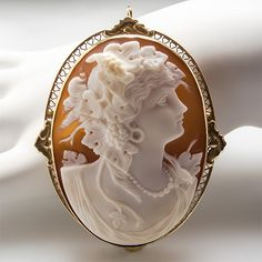 Antique Carved Goddess Cameo Pendant Brooch Solid 14k Gold Fine Estate Jewelry | eBay