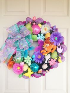 Bambi and Flower Easter Wreath by SparkleForYourCastle on Etsy, $159.00