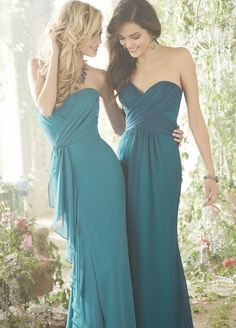Bridesmaids and Special Occasion Dresses by Jim Hjelm Occasions - Style chiffon strapless A-line bridesmaid gown, draped curved neckline, natural waist with cascade Turquoise Bridesmaid Dresses, Blue Bridesmaids, Wedding Bridesmaid Dresses, Teal Dresses, Prom Dresses, Teal Dress For Wedding, Lovely Dresses, Dress Prom, Formal Dresses