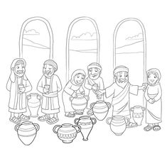 Jesus turns water into wine at a wedding in Cana (John 2)