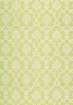 Brenton Damask #fabric in #apple #green from the Anna French Ballad collection. #Thibaut #AnnaFrench