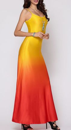 Gradient Sparkling Spaghetti Strap Maxi-Dress