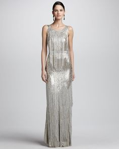 Oscar De La Renta Beadfringe Sleeveless Column Gown in Gold (SILVER)