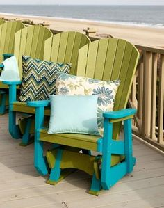 Finch Poly SeaAira Adirondack Glider Comfortable, eco-friendly, and customizable. This is the ultimate in outdoor seating.
