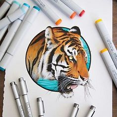 Check out @stephenward_art amazing copic drawings! Selling Copic markers and pens in our studio, come pick up yours today #copic #stephenward #copicmarker #tiger #art #illustration #copicpens (at...