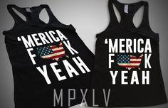 Merica F**k YEAH Womens Tank Top Racer Back Black by MPXLV on Etsy, $16.95