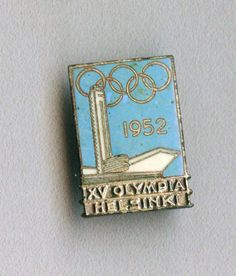Rare Official pin badge for the XV Summer Olympic Games in Helsinki 1952