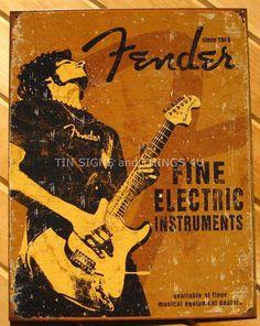 Fender Rock On TIN SIGN wall decor vtg heavy metal music mancave guitar bar 1765 #Fender