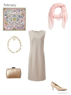 beige dress with gold and pink accessories