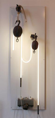 double pulley (holding on to the light)  artist,  jeroen Gordijn