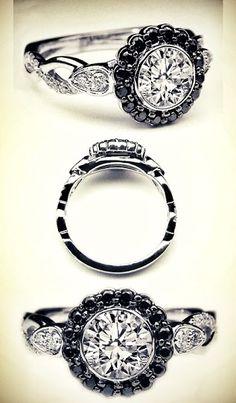 Black Diamond Halo Bezel Engagement Ring Twisted Pave Band