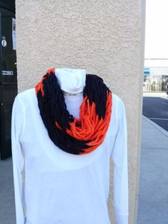 Arm Knit Orange and Black Chunky Infinity Scarf by WarmButterfly