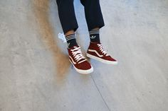 Shop Vans Burgundy Suede Reissue Trainers at Urban Outfitters today. Toe Warmers, Sk8 Hi Vans, Vans Outfit, Vans Off The Wall, Skater Girls, Hot Outfits, Everyday Look, Girlie Girlie, Trainers