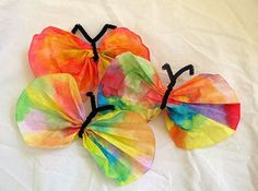 Coffee filter butterflies! My preschool kids loved these. They can also be made with clothes pins for the body.    Take a coffee filter and have kids color them with washable markers. Then let them mist the coffee filter with water from a spray bottle. Let it dry, and have them pinched into a butterfly shape with pipe cleaners or clothes pins.