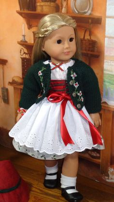 $75 Christmas Dirndl and Sweater Set for AG dolls, SugarLoafDollClothes