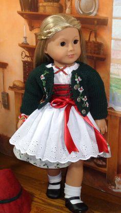 $75 Christmas Dirndl and Sweater Set for AG dolls, SugarLoafDollClothes