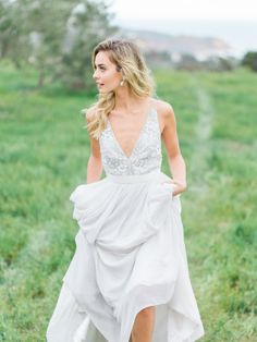Pale gray beaded wedding gown: http://www.stylemepretty.com/2016/05/25/the-ultimate-something-blue-wedding-inspiration/   Photography: The Grovers - http://www.troygrover.com/
