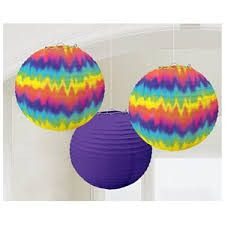 These Paper Lanterns are so much fun. They are made of quality paper so they can be used indoors or outdoors. Two of the lanterns are a fun tie dye style and the third lantern is a nice accenting purp